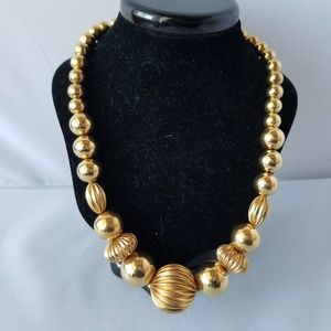 Napier Vintage Signed Gold Large Bead Necklace